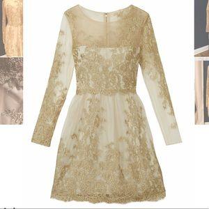 Marchesa Notte Astor Cream/Gold Dress 14
